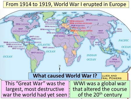 Text From 1914 to 1919, World War I erupted in Europe