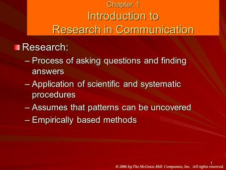 introduction to research methods quiz 1 Research methods in education introduces research methods as an integrated set of techniques for investigating questions about the educational world.