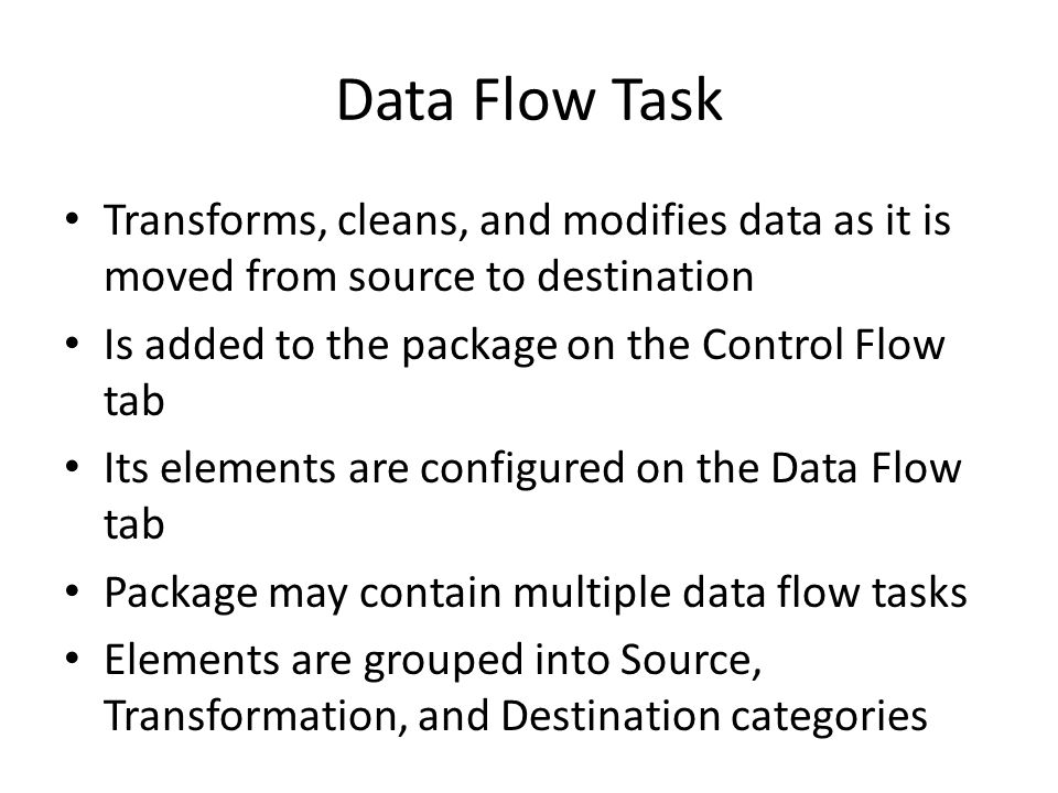 Transformations Numerous transformations are available We will look at Lookup transformation only – Essential for loading fact tables – Lookup data from dimension table to retrieve key values to be loaded into fact table – Caching can be used (either full or partial)
