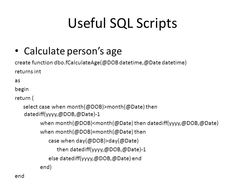 Useful SQL Scripts Sample query for loading data into dimension table INSERT INTO DimXXX (Col1,Col2) select distinct stgcol1,stgcol2 From Staging.dbo.tbl Where ltrim(rtrim(stgcol1))+ | +ltrim(rtrim(stgcol2)) not in(select distinct ltrim(rtrim(col1))+ | +ltrim(rtrim(col2))from DimXXX)