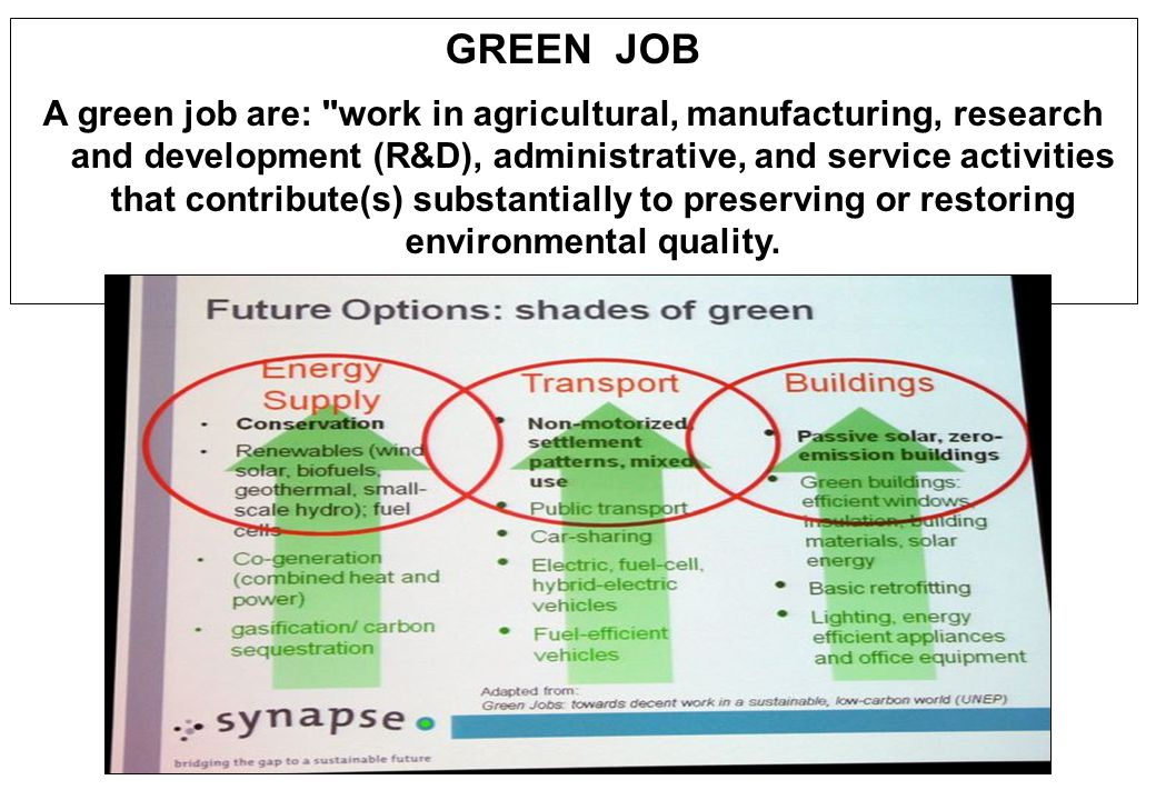 Green-job includes jobs that help to : Protect ecosystems and biodiversity; Reduce energy, materials, and water consumption through high efficiency strategies; De-carbonize the economy; and Minimize or altogether avoid generation of all forms of waste and pollution.