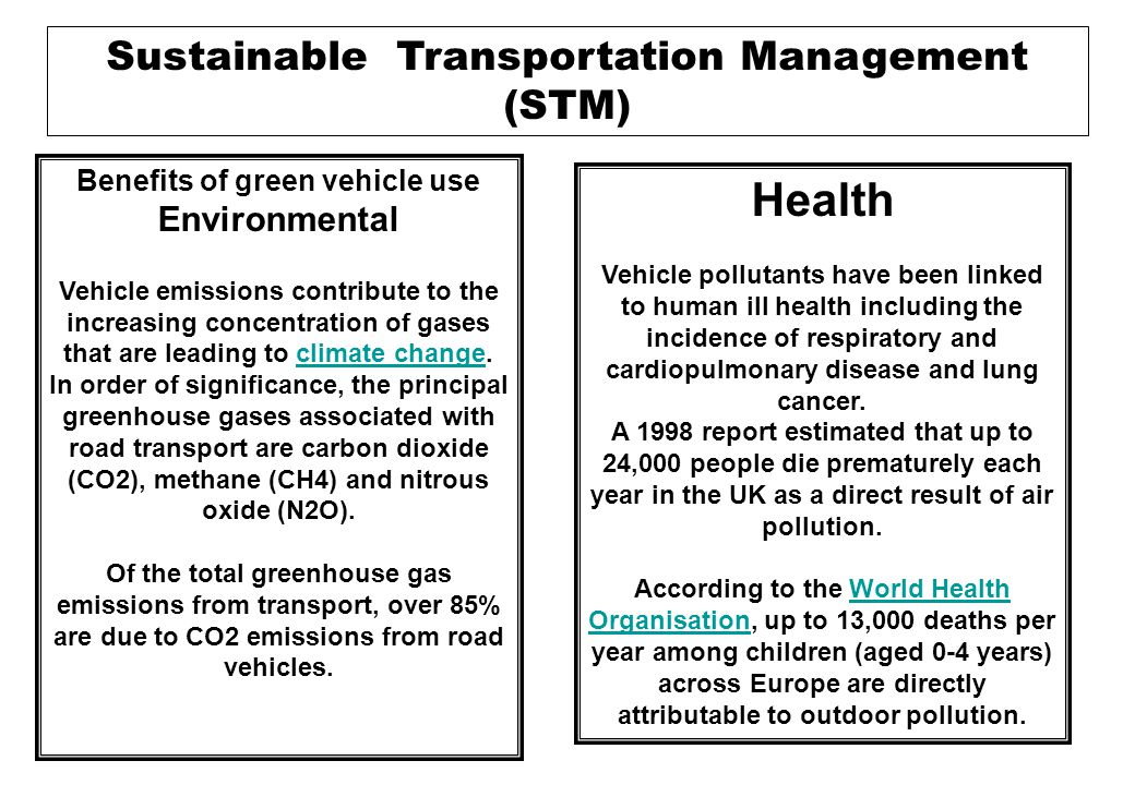 Sustainable Transportation Management (STM) Sustainable city A more sustainable city, or Eco-city, has fewer inputs (of energy, water, food etc) and fewer waste products (heat, air pollution, water pollution etc) than a less sustainable city.Eco-city Cities can be made more sustainable by means of: Green Green roofsreen roofs transport Sustainable urban drainage systems or SUDS Energy conservation Xeriscaping - garden and landscape design for water conservationeriscaping Ecopolis (city) An Ecopolis is a large city that follows ecological principles.