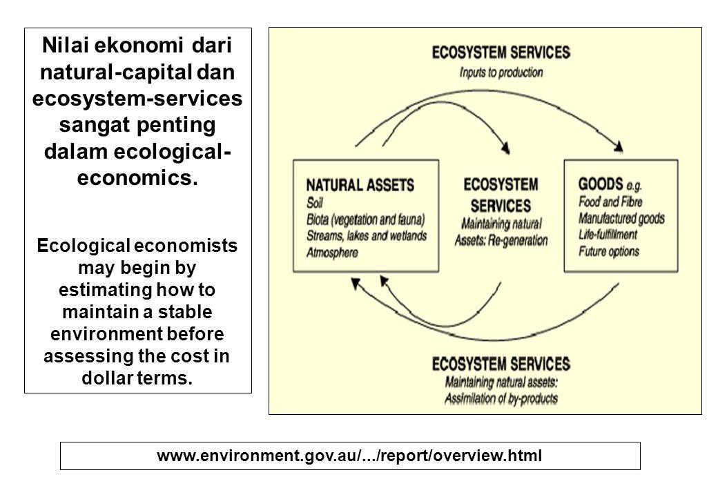 Tujuan utama Ecological- Economics (EE) : Mengimplementasik an pemikiran dan praktek ekonomi ke dlm realita biofisik, seperti hukum termodinamika dan sistem biologis.