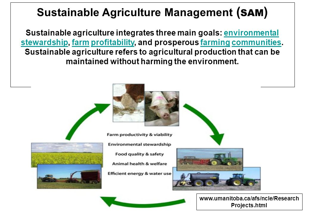 Sustainable Agriculture Management (S A M) It has been defined as follows: the term sustainable agriculture means an integrated system of plant and animal production practices having a site-specific application that will, over the long term: Satisfy human food and fiber needs Enhance environmental quality and the natural resource base upon which the agricultural economy depends Make the most efficient use of nonrenewable resources and on-farm resources and integrate, where appropriate, natural biological cycles and controls Sustain the economic viability of farm operations Enhance the quality of life for farmers and society as a whole.