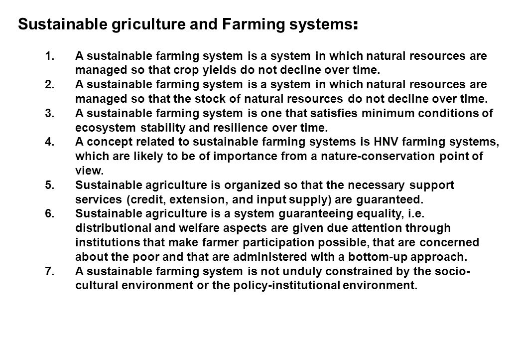 DELAPAN CIRI SISTEM USAHATANI LESTARI : 1.Productivity - Land - Soils 2.Profitability 3.Stability 4.Diversity 5.Flexibility 6.Time-dispersion 7.Sustainability 8.Complementarity and environmental compatibility