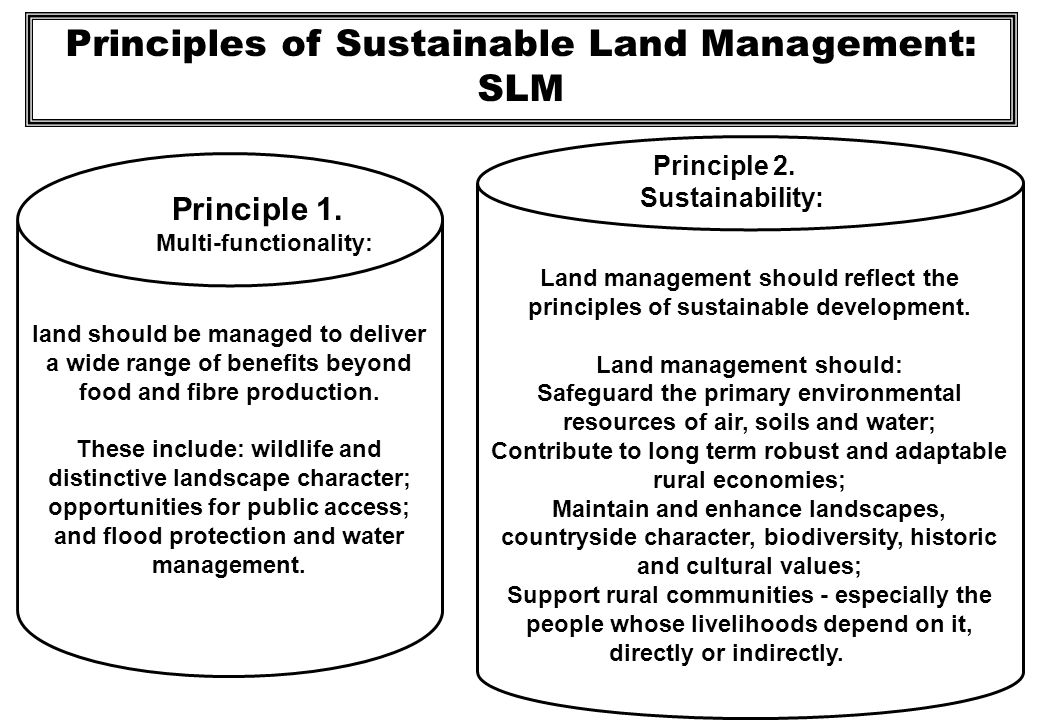 Principles of Sustainable Land Management: SLM Land management must be integrated with rural development.