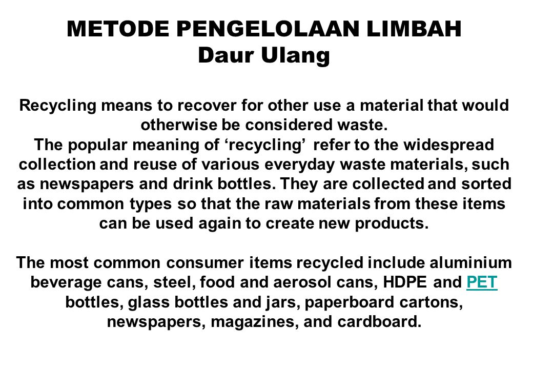 Dekomposisi Anaerobik Waste materials that are organic in nature, such as plant material, food scraps, and paper products, are increasingly being recycled using biogical composting and/or digestion processes to decompose the organic matter and kill pathogens.
