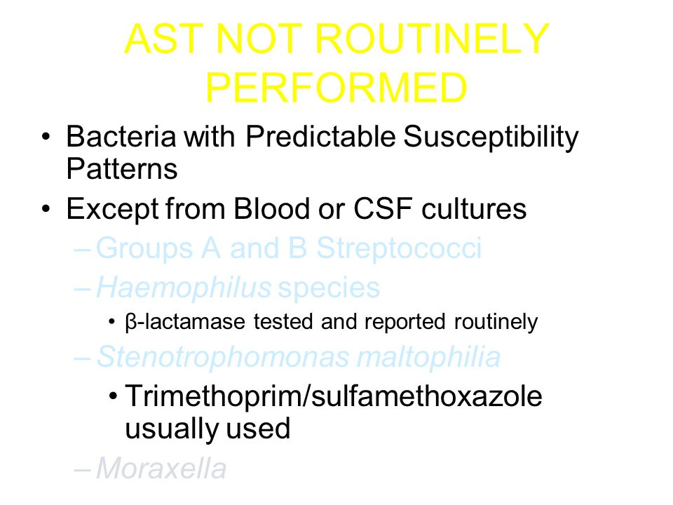 Exception: Group B Strep at WMC Patient with a listed penicillin allergy and growth of Group B Strep (GBS): –MIC is set and reported –D-Test for inducible clindamycin resistance is set at the same time –Clindamycin will only be reported as susceptible if there is no inducible resistance