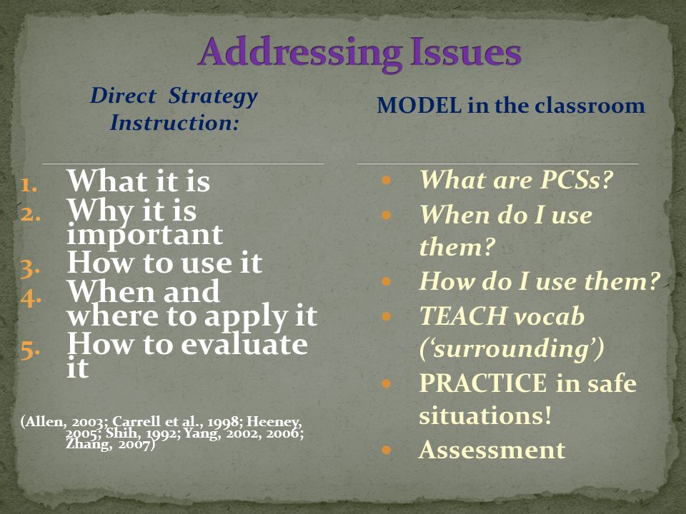 After you have Explained and Modelled PCSs, GAMES are safe, fun, and appropriate practice.