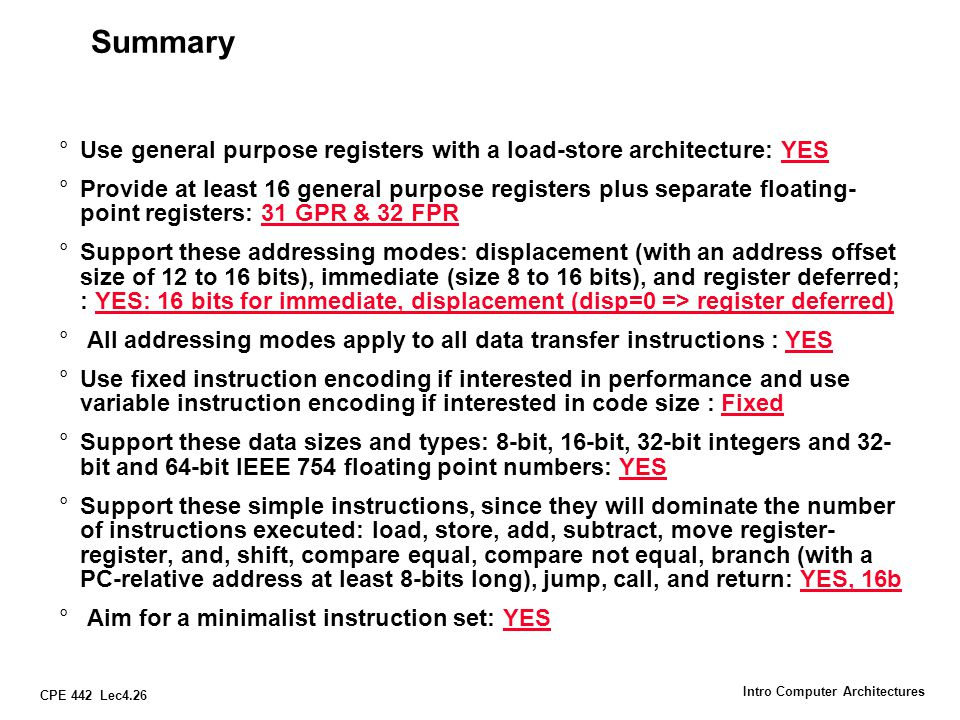 CPE 442 Lec4.27 Intro Computer Architectures Summary: Salient features of MIPS R3000 32-bit fixed format instructions 32 32-bit GPR (R0 contains zero) and 32 FP registers (and HI LO) partitioned by software convention 3-address, reg-reg arithmetic instr.