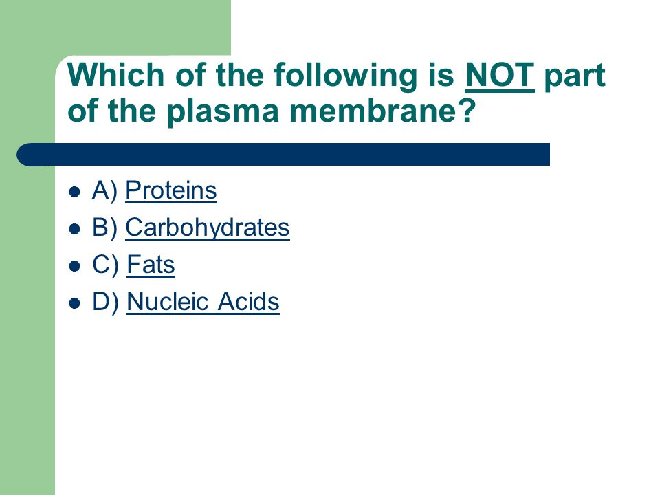 Which of the following is NOT part of the plasma membrane.
