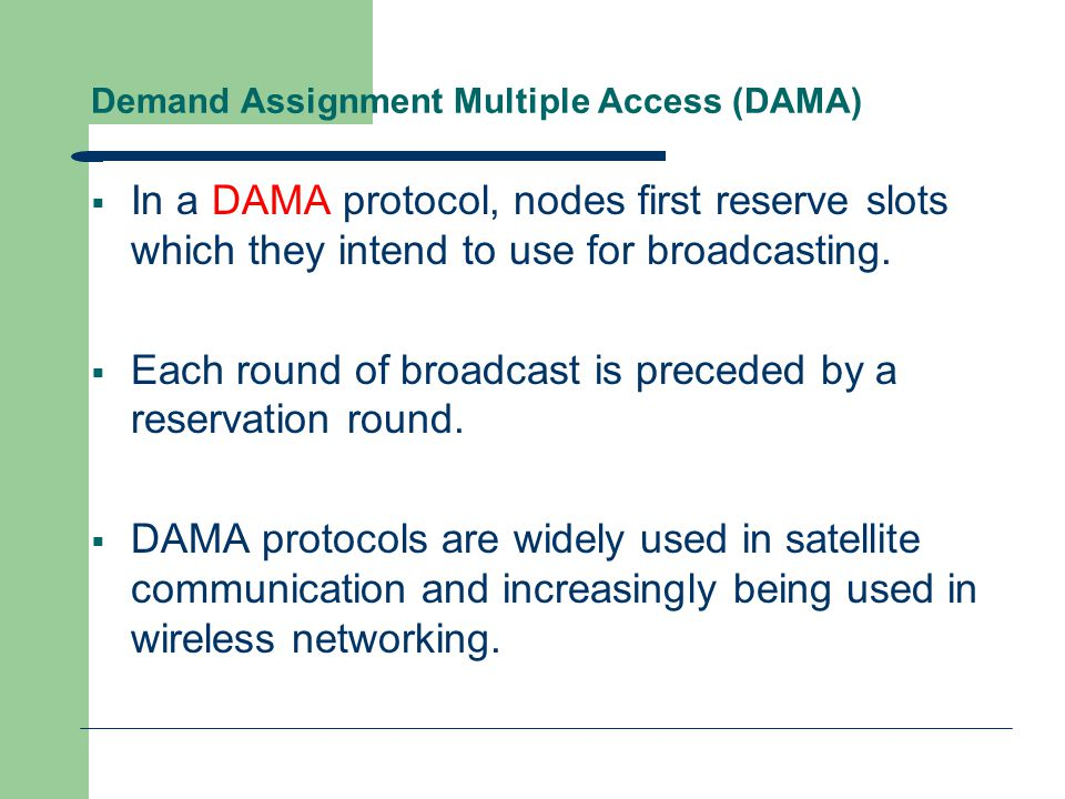 An example of Time Demand Assignment Multiplexing  CSMA/CD: Carrier Sense Multiple Access with Collision Detection  When a node wants to broadcast, it checks whether any other node is broadcasting (senses the carrier).