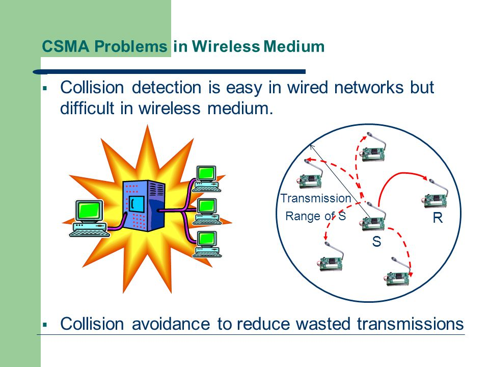 CSMA Problems in Wireless Medium  With only one antenna/radio, nodes can only listen or send.