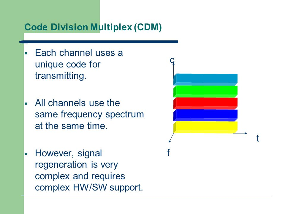 Code Division Multiplexing  CDMA has ben adopted for the 3G mobile phone technology.