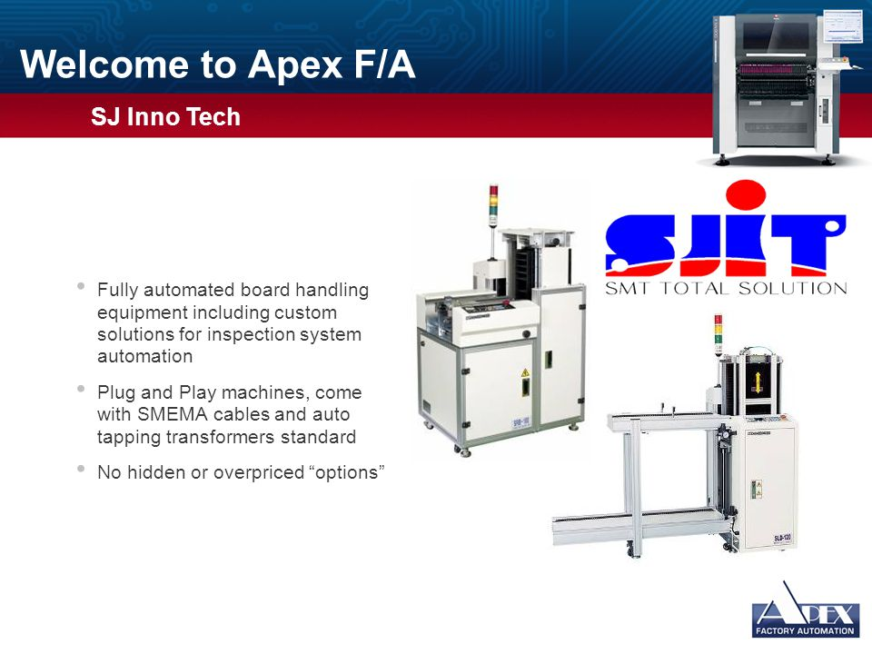 Welcome to Apex F/A  TSM has produced soldering machines (wave) since 1990 and has produced Reflow Ovens since 1999  In 2007 TSM began producing Nitrogen Generator systems  Annually invests back into their company through R&D and has curing systems and smaller 5 and 6 zone ovens in development  TSM has two factories in South Korea and an extremely high production capability Usage Guidelines Slide Description: Graphic and Text Usage: This slide has space for a photograph or other graphic on the left and bulleted text on the right.