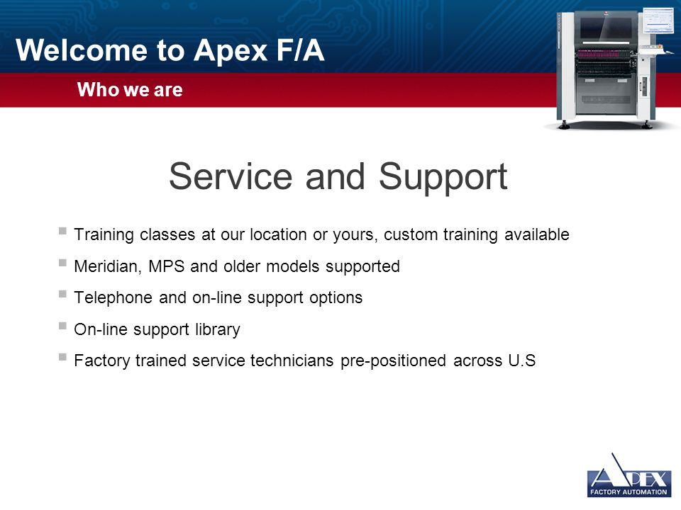 Welcome to Apex F/A  Usage Guidelines  Slide Description: Standard Text  Usage: Plain slides are for messages best conveyed with bulleted lists of text.