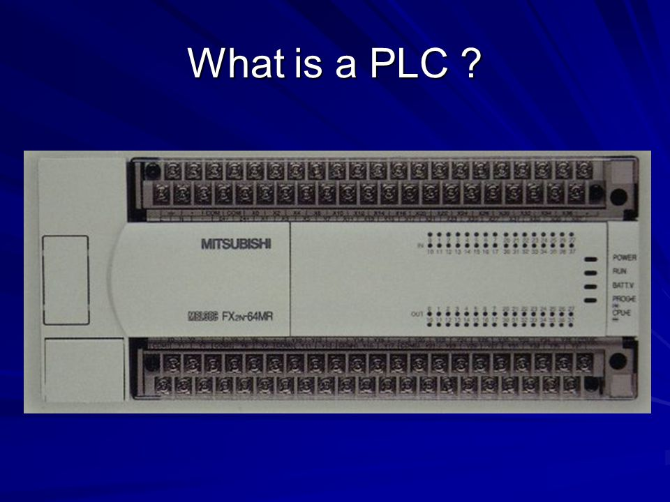 A PLC works by looking at its inputs and depending on their state, and the user entered program, turns on/off outputs.