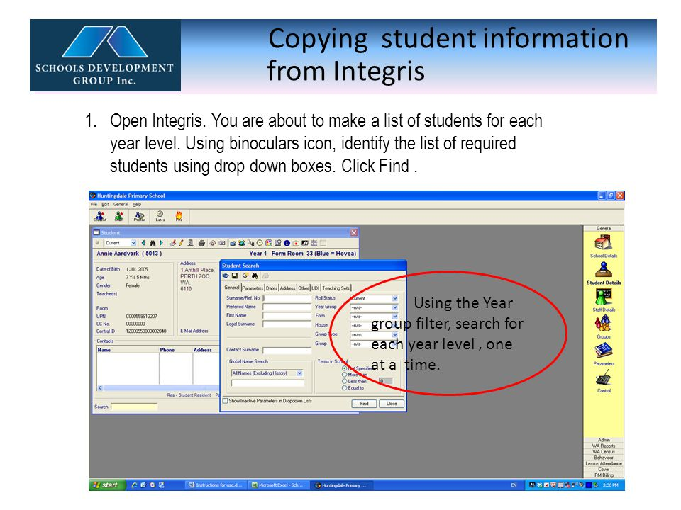 Copying student information from Integris 2.Highlight all students in that group and click Select.