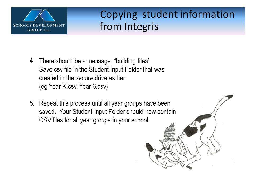 Copying student information from Integris .Care …..