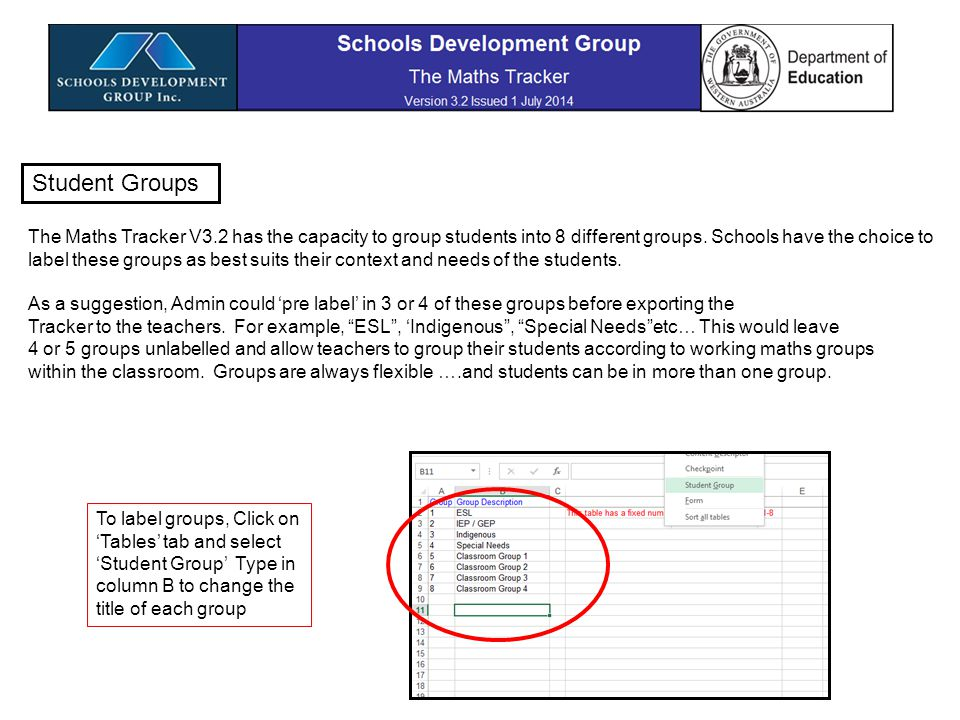To assign Student Groups 1.Click on Students' tab 2.Select Update Student Attribute data 3.Highlight a student 4.Click yes (or no) for a particular group 5.Click green Update attributes after each student.