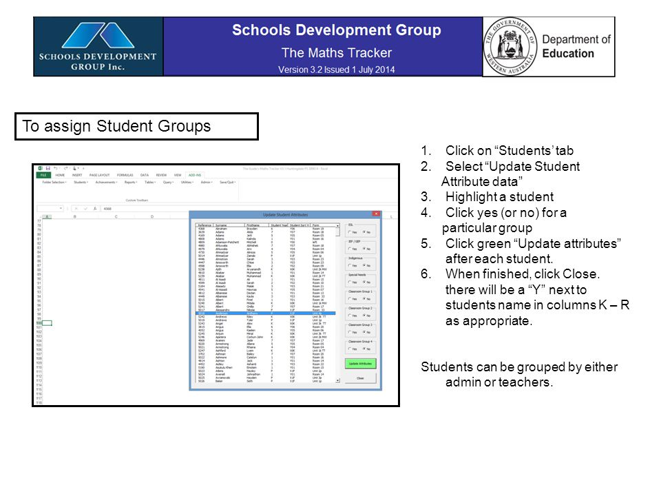 Using Student Groups Choose 'Reports'' Tab and Achievements Summary.