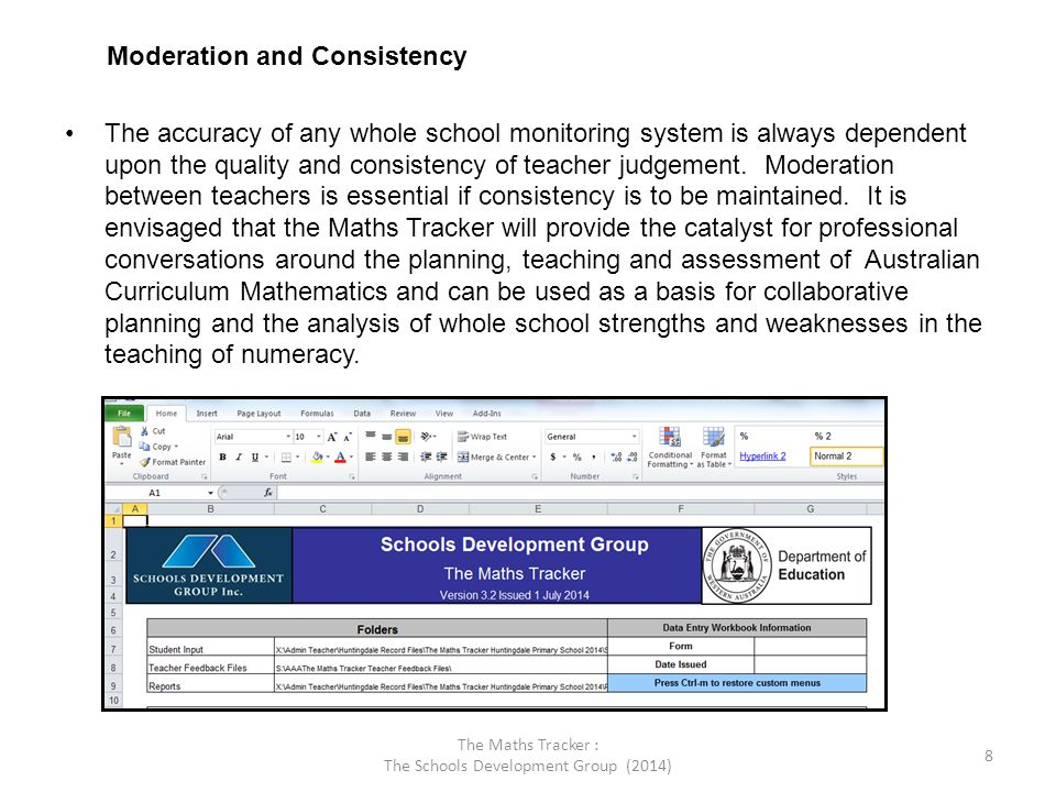 The Maths Tracker : The Schools Development Group (2014) 9 A few notes: This program requires you to enable macros on your computer in order to read it.
