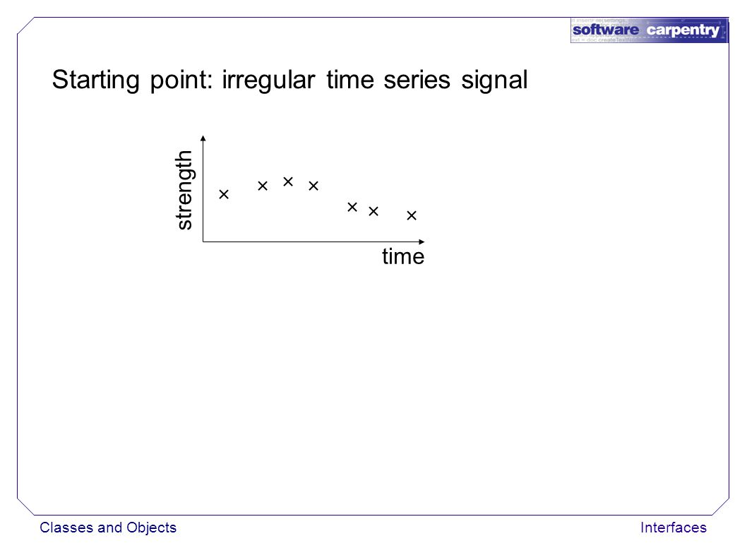 Classes and ObjectsInterfaces Starting point: irregular time series signal time strength Hide irregularity by allowing sampling at any time