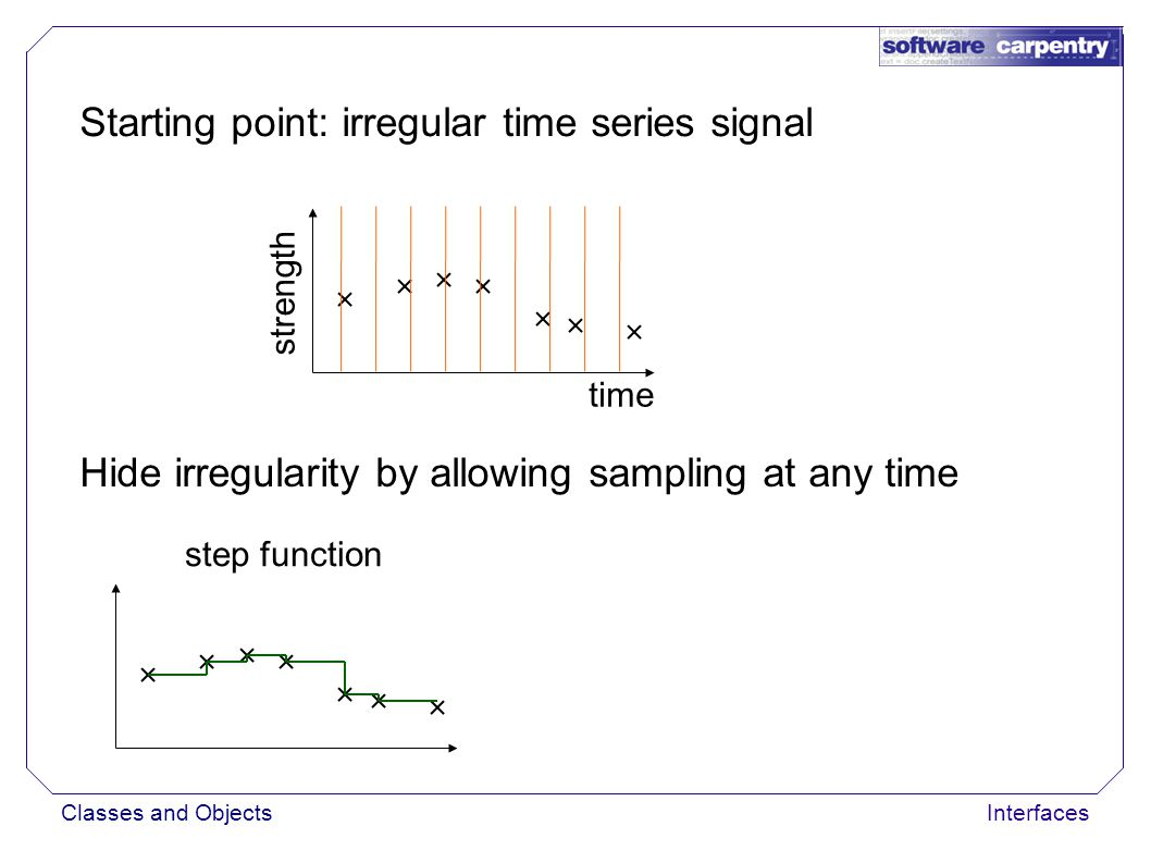 Classes and ObjectsInterfaces Starting point: irregular time series signal time strength Hide irregularity by allowing sampling at any time step functionlinear interpolation