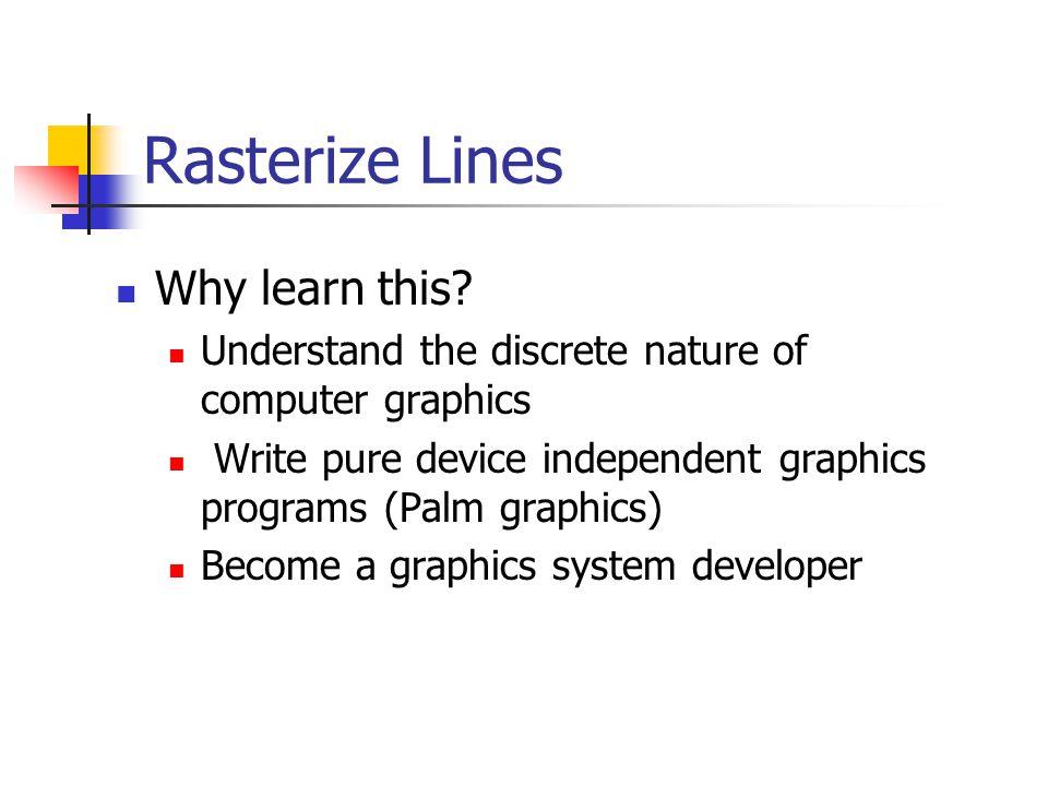 Line Drawing Algorithm (1) 0 1 2 3 4 5 6 7 8 9 10 11 12 8765432187654321 Line: (3,2) -> (9,6) ?