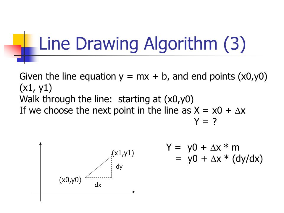 Line Drawing Algorithm (4) (x0, y0) X = x0 + 1 Y = y0 + 1 * m Illuminate pixel (x, int(Y)) X = X + 1 Y = Y + 1 * m Illuminate pixel (x, int(Y)) … Until X == x1 (x1,y1) X = x0 Y = y0 Illuminate pixel (x, int(Y))