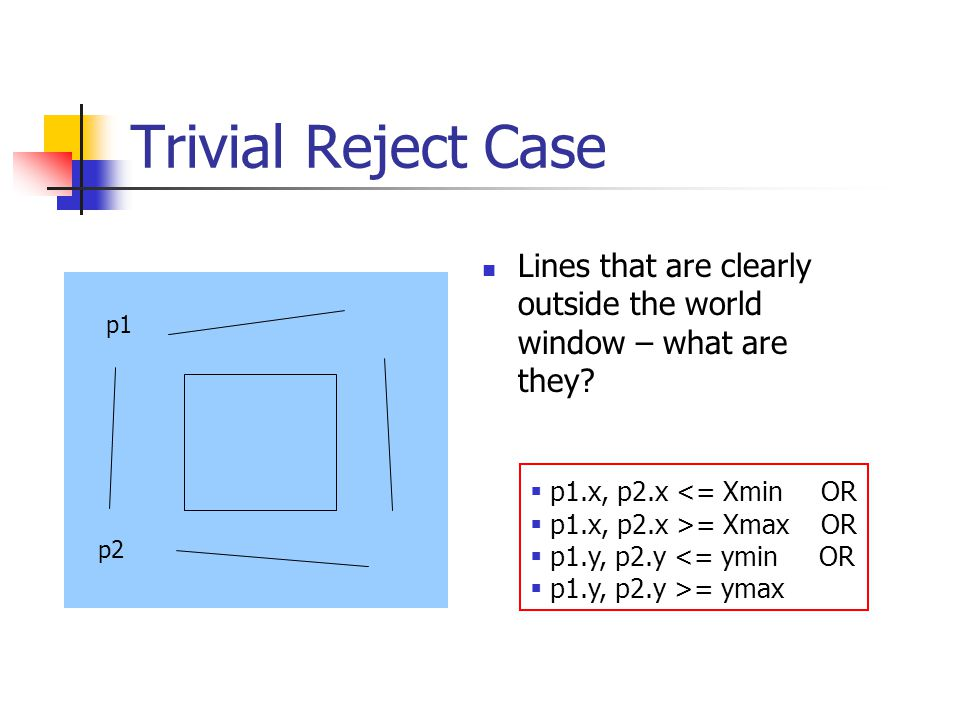 Non-Trivial Cases Lines that cannot be trivially rejected or accepted One point inside, one point outside Both points are outside, but not trivially outside Need to find the line segments that are inside p1 p2