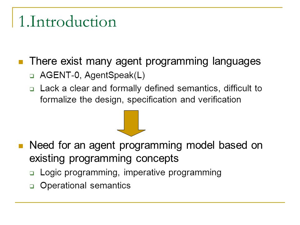 Agenda Introduction Programming BDI-agents Abstract agent programming language Operational semantics Comparison with existing APLs Conclusions