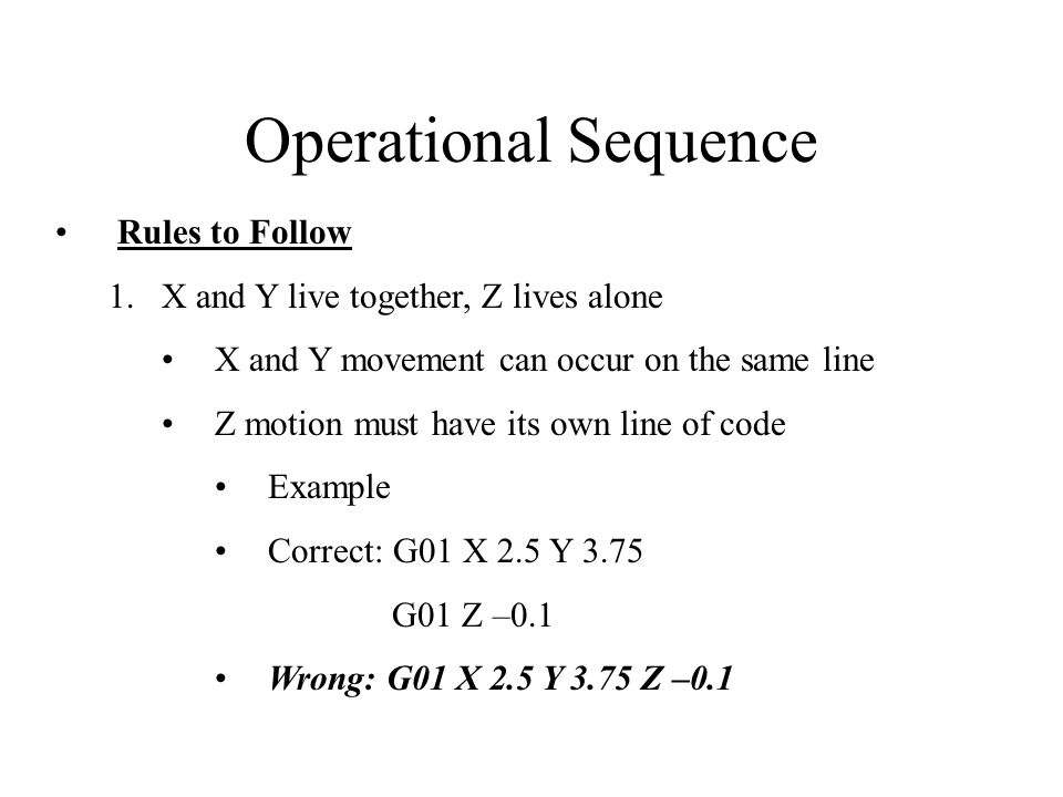 Operational Sequence Rules to Follow 2.