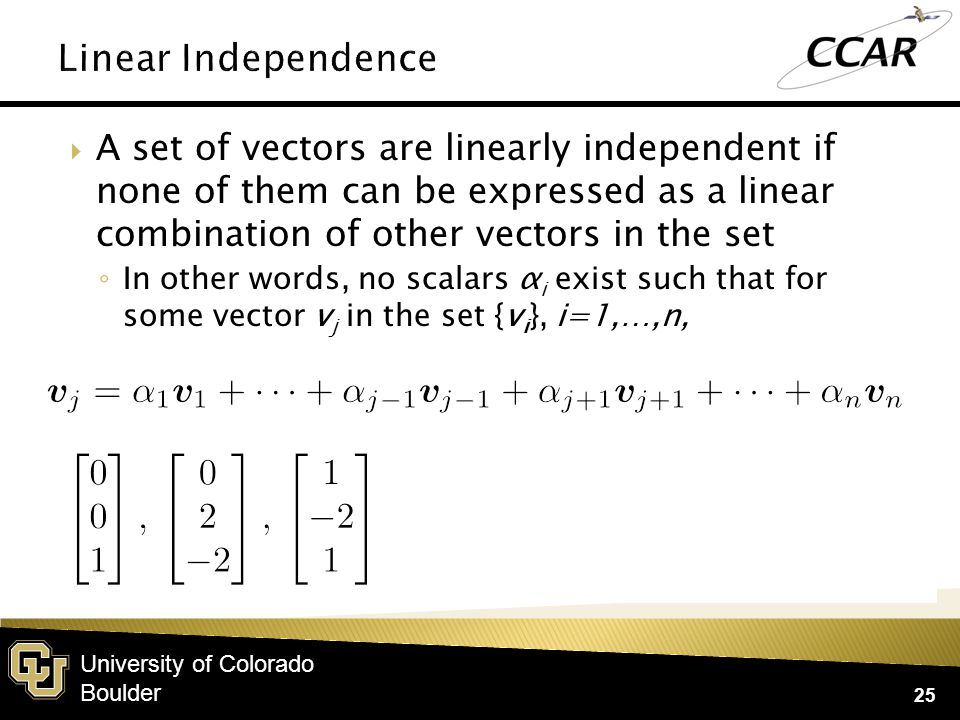 University of Colorado Boulder  The matrix column rank is the number of linearly independent columns of a matrix  The matrix row rank is the number of linearly independent rows of a matrix  rank(A) = min( col.