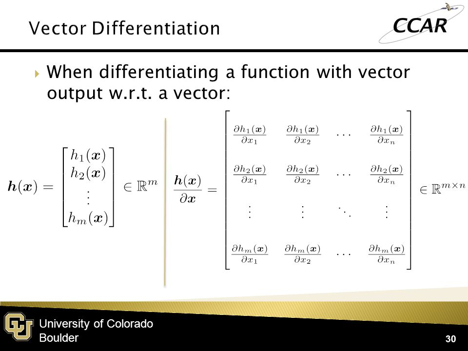 University of Colorado Boulder  If A and B are n×1 vectors that are functions of X: 31