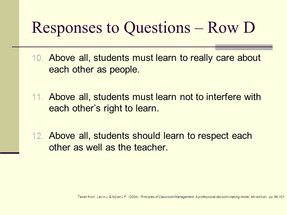 Responses to Questions – Row E 13.