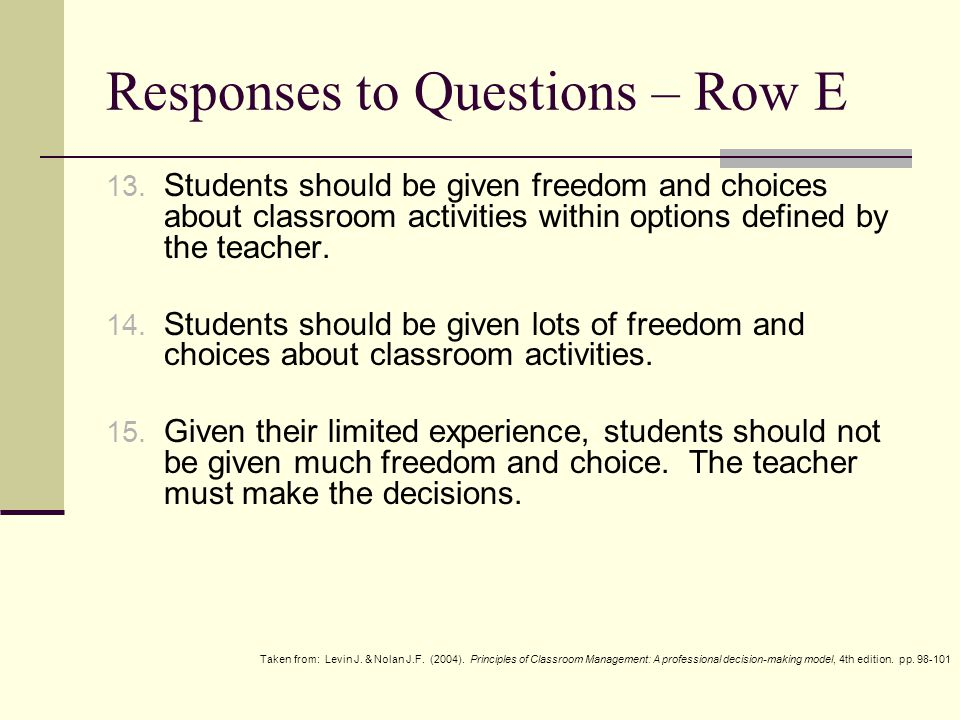 Responses to Questions – Row F 16.