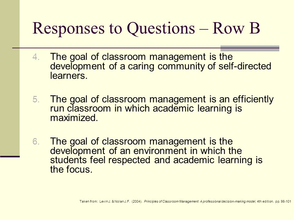 Responses to Questions – Row C 7.The goal with dealing with misbehaviour is to minimize the loss of learning time.