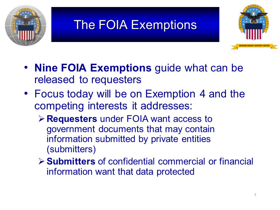 8 Exemption 4 Exemption 4 protects trade secrets and commercial or financial information obtained from a person [that is] privileged or confidential National Parks test Critical Mass test
