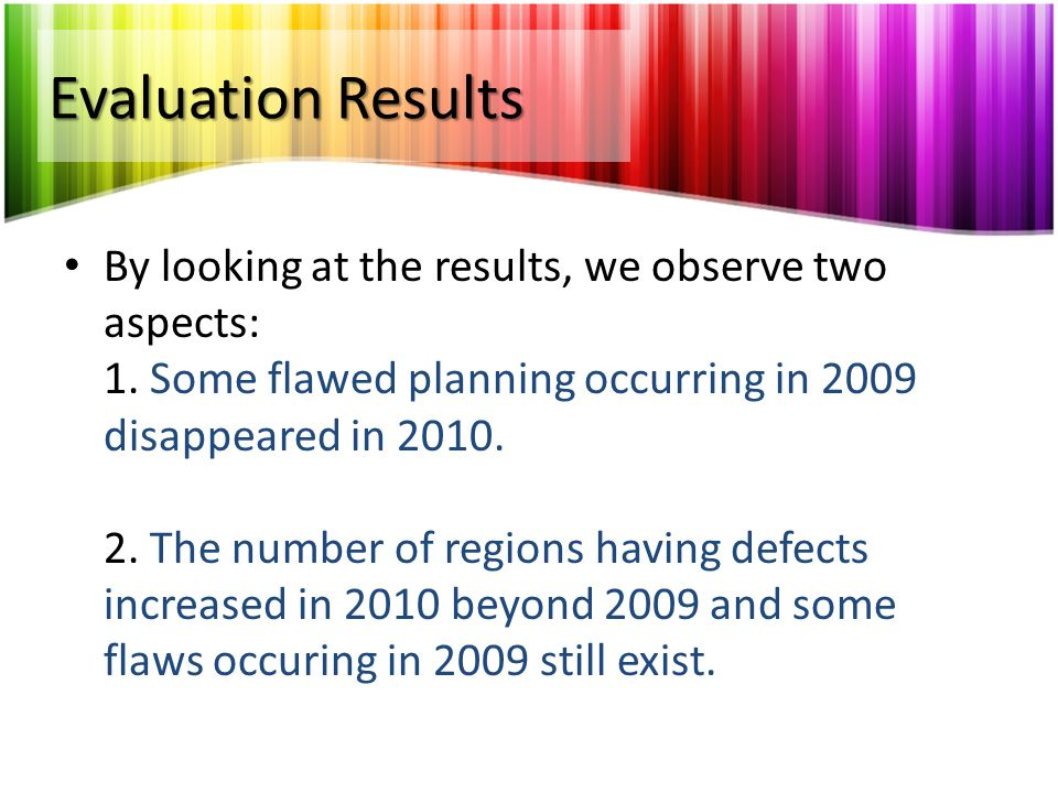 Evaluation Results Some flawed planning occurring in 2009 disappeared in 2010.