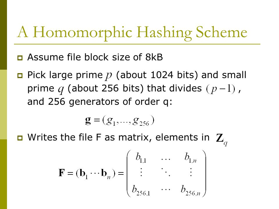 How To Hash  The hash of a message or check block is an element in :