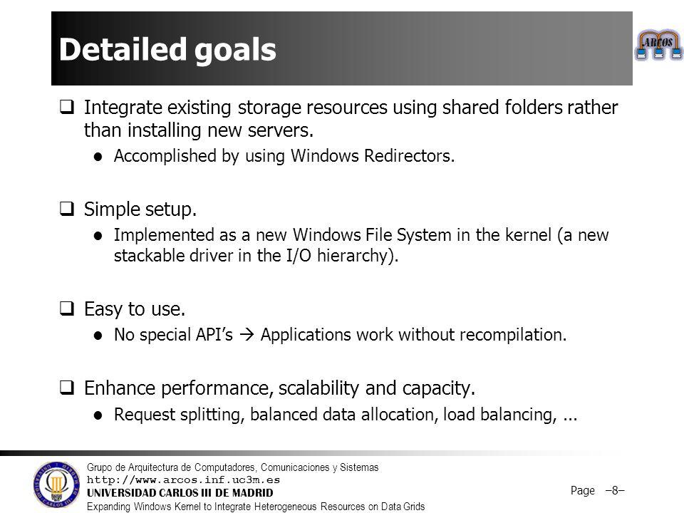 Grupo de Arquitectura de Computadores, Comunicaciones y Sistemas http://www.arcos.inf.uc3m.es UNIVERSIDAD CARLOS III DE MADRID Expanding Windows Kernel to Integrate Heterogeneous Resources on Data Grids Page –9–