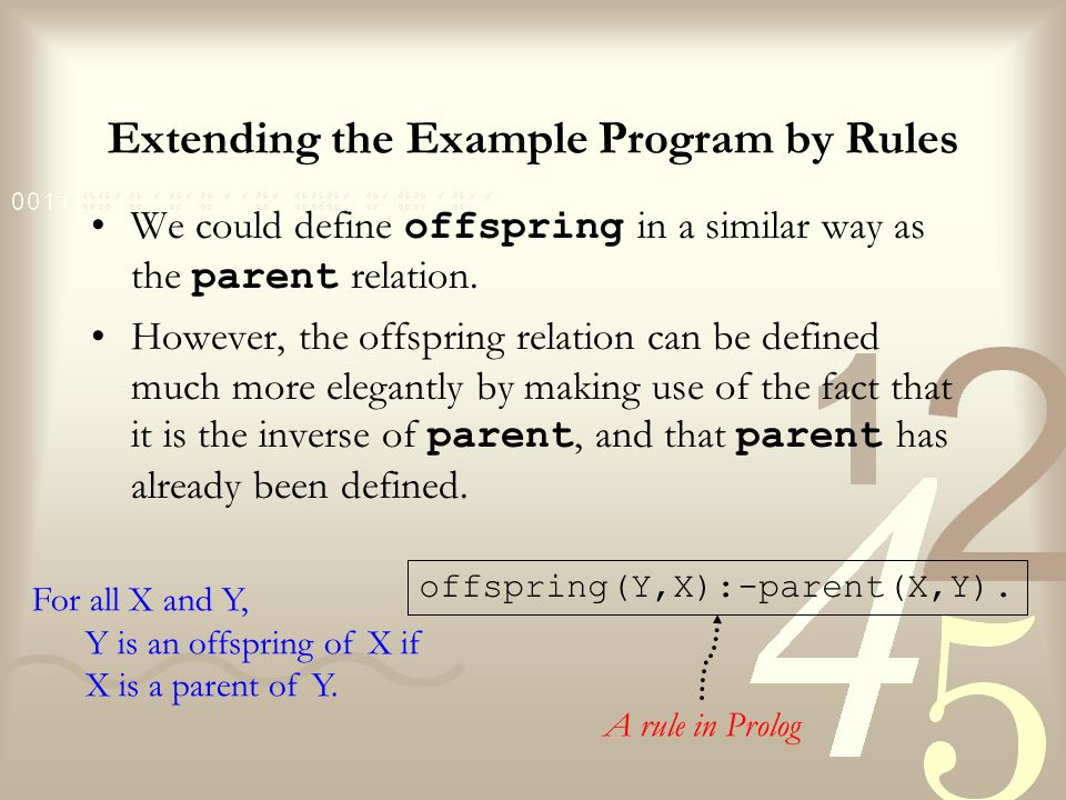 Extending the Example Program by Rules Difference between facts and rules: –A fact is something that is always, unconditionally, true.