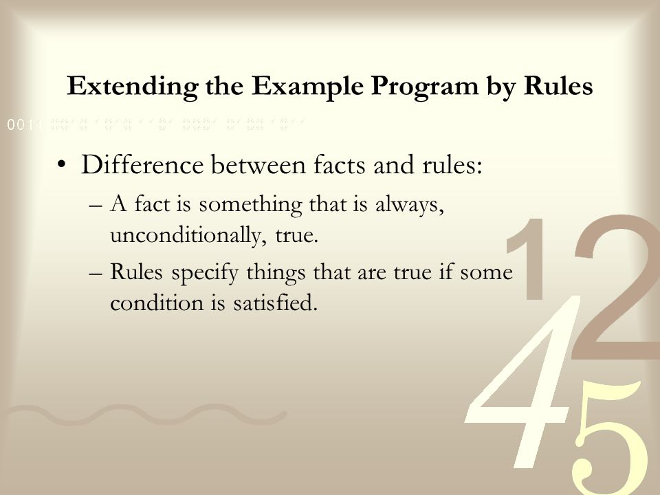Extending the Example Program by Rules Rules have: –a condition part (the LHS of the rule) and –a conclusion part (the RHS of the rule).