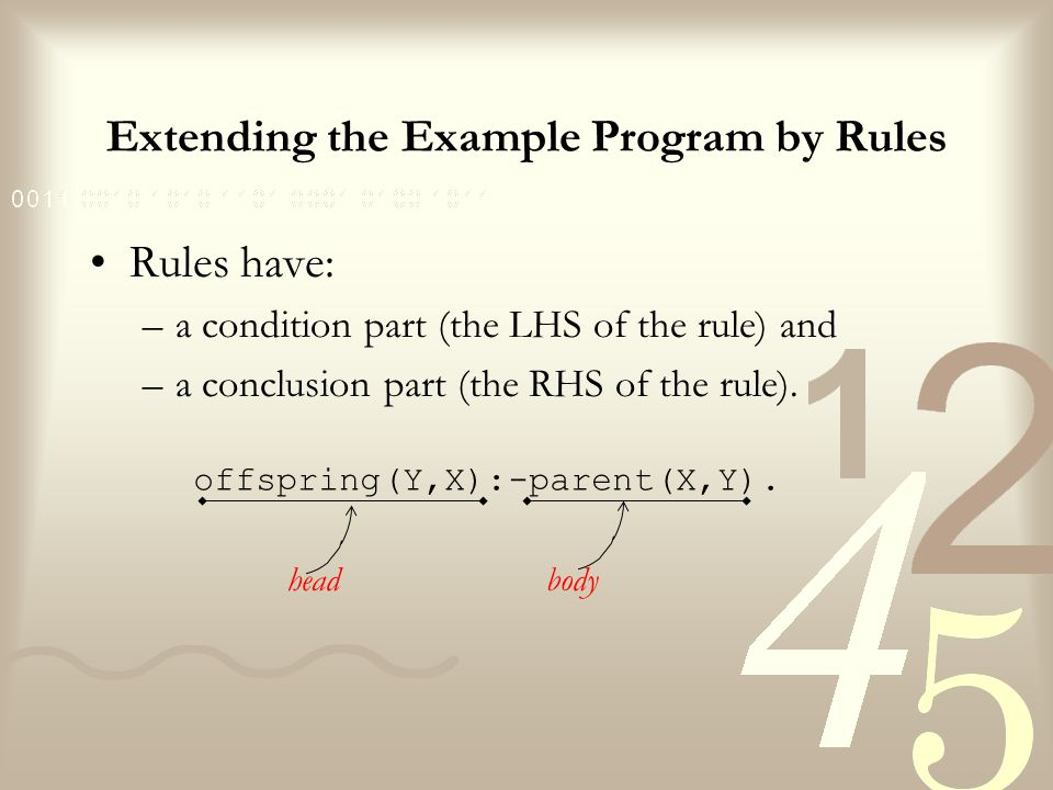 Extending the Example Program by Rules parent(tom,bob).