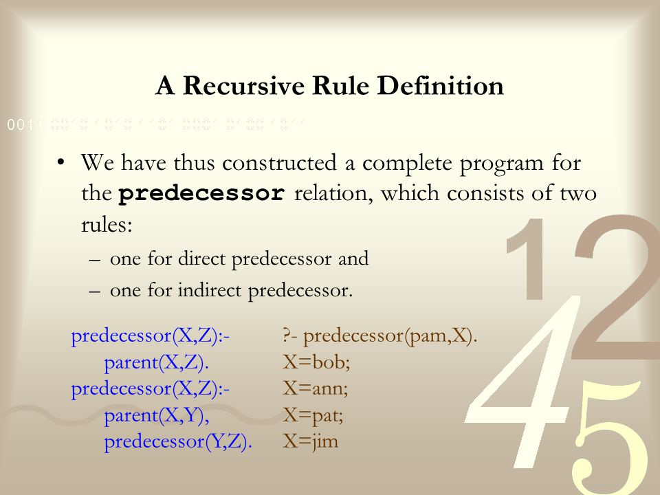 A Recursive Rule Definition The use of predecessor itself may look surprising: –When defining something, can we use this same thing that has not yet been completely defined.