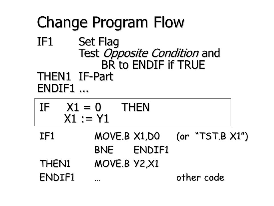 IFX1 = 0THENX1 := Y1 ELSEX1 := Y2 Wrong IF1 MOVE.B X1,D0 BEQ THEN1 BEQ THEN1 ELSE1 MOVE.B Y2,X1 THEN1 MOVE.B Y1,X1 ENDIF1 … Right IF1 MOVE.B X1,D0 BEQ THEN1 BEQ THEN1 ELSE1 MOVE.B Y2,X1 BRA ENDIF1 BRA ENDIF1 THEN1 MOVE.B Y1,X1 ENDIF1...