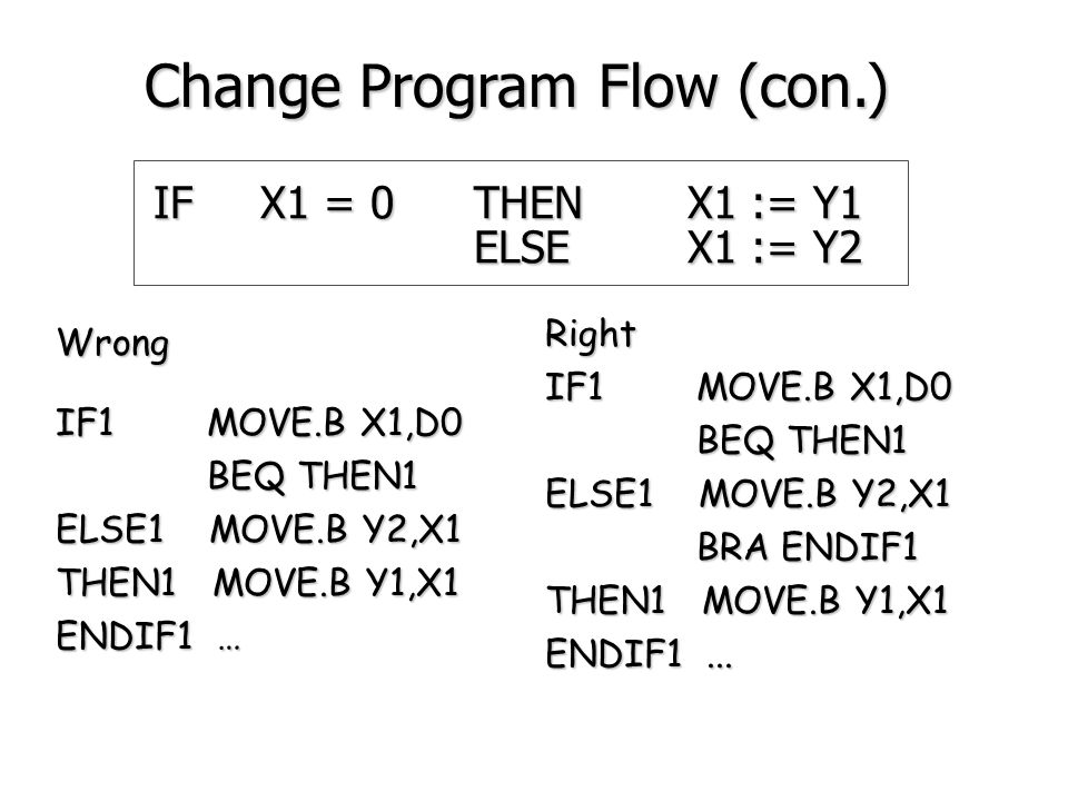 IFX1 = 0THENX1 := Y1 ELSEX1 := Y2 IF1 MOVE.B X1,D0 BNE ELSE1 BNE ELSE1 THEN1 MOVE.B Y1,X1 BRA ENDIF1 must have this branch BRA ENDIF1 must have this branch ELSE1 MOVE.B Y2,X1 ENDIF1...