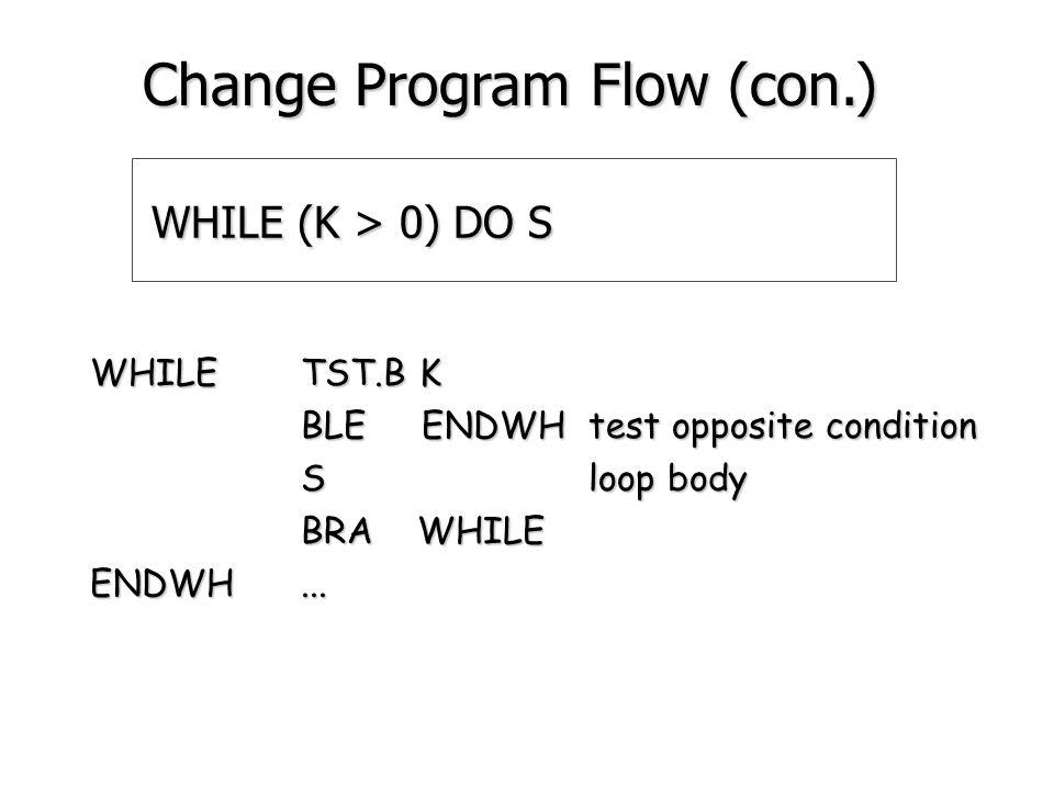 FOR I = N1 TO N2 DO S MOVE.B N1,D0 D0: loop counter MOVE.B N1,D0 D0: loop counter NEXTCMP.B N2,D0 BGT ENDFOR S loop body ADD.B #1,D0 BRA NEXT ENDFOR...