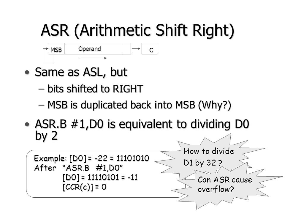 Effect of Arithmetic Operations on CCR Addition: Addition:  1, if carry out from MSB  1, if carry out from MSB C =   0, otherwise  0, otherwise  1, if operands are of same sign and  1, if operands are of same sign and V =  their sum is of the opposite sign  0, otherwise  0, otherwise ____ ____ ____ V= a n-1  b n-1  s n-1 + a n-1  b n-1  s n-1 where a n-1, b n-1, s n-1 are the MSBs of source destination and result, respectively